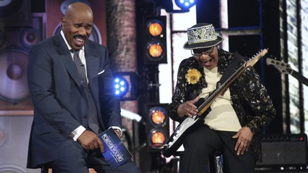 Steve Harvey and Beverly Watkins on Little Big Shots: Forever Young (Vivian Zink/NBC)